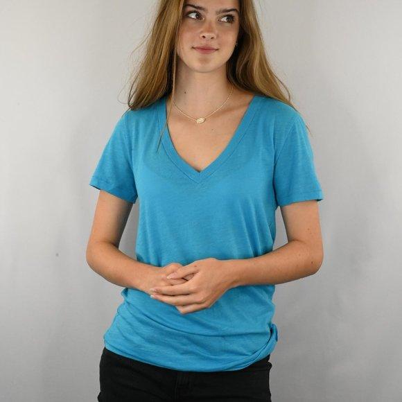 PINK Victoria's Secret Tops - Victoria Secret Blue Vneck Tshirt SZ: S